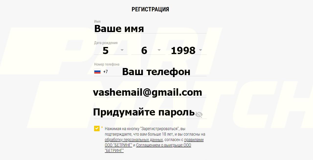 Данные которые нужно ввести для регистрации